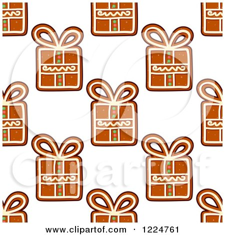 Clipart of a Seamless Background Pattern of Gift Shaped Christmas Gingerbread Cookies - Royalty Free Vector Illustration by Vector Tradition SM