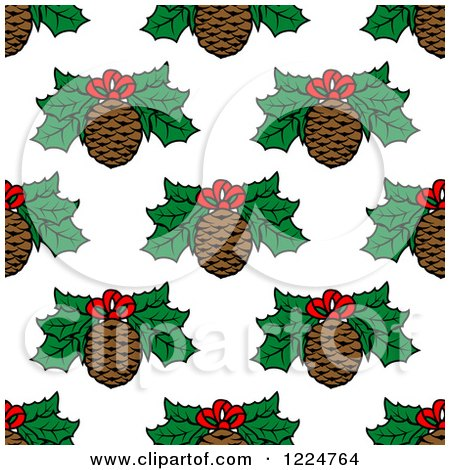 Clipart of a Seamless Christmas Pattern of Pine Cones and Holly - Royalty Free Vector Illustration by Vector Tradition SM