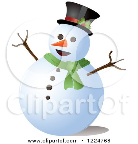 Clipart of a Happy Snowman with a Top Hat and Scarf - Royalty Free Vector Illustration by Pams Clipart