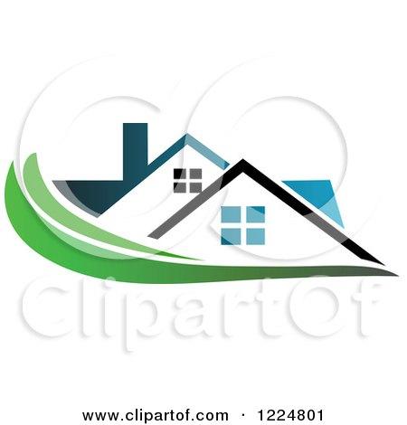 Clipart of a Blue Roofed House with a Green Swoosh - Royalty Free Vector Illustration by Vector Tradition SM