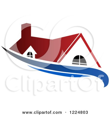 Clipart of a Red Roofed House with a Blue Swoosh - Royalty Free Vector Illustration by Vector Tradition SM