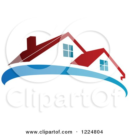 Clipart of a Red Roofed House with a Blue Swoosh 2 - Royalty Free Vector Illustration by Vector Tradition SM