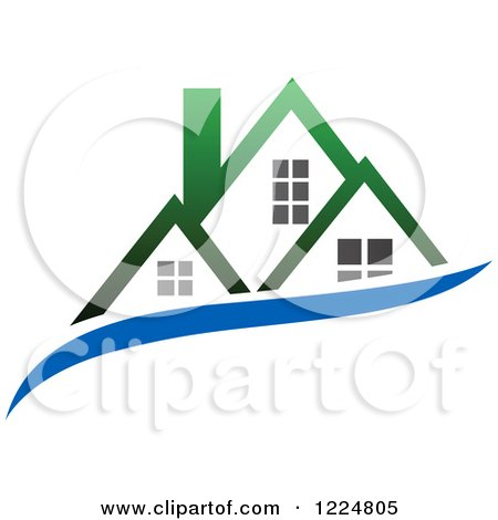 Clipart of a Green Roofed House with a Blue Swoosh - Royalty Free Vector Illustration by Vector Tradition SM