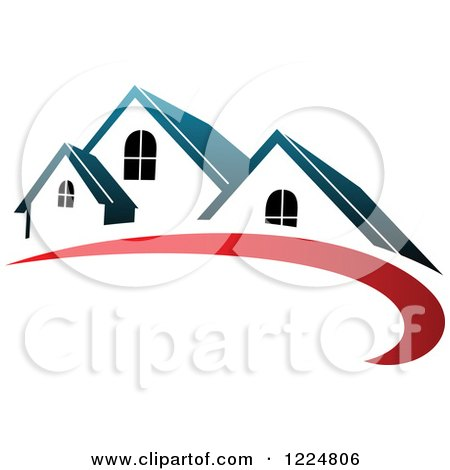 Clipart of a Blue Roofed House with a Red Swoosh - Royalty Free Vector Illustration by Vector Tradition SM