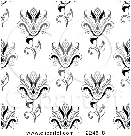 Clipart of a Seamless Background Pattern of Black and White Paisley Flowers - Royalty Free Vector Illustration by Vector Tradition SM