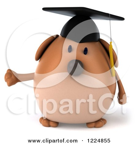 Clipart of a 3d Chubby Graduate Dog Presenting - Royalty Free Illustration by Julos