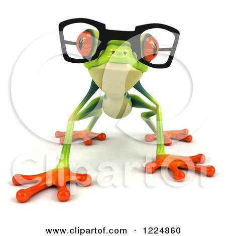 Clipart of a 3d Argie Frog Wearing Glasses and Crouching - Royalty Free Illustration by Julos