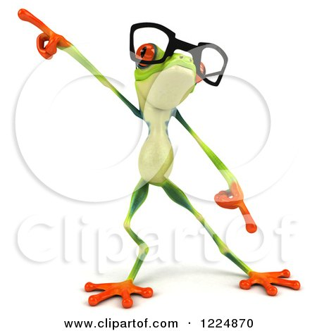 Clipart of a 3d Argie Frog Wearing Glasses and Dancing - Royalty Free Illustration by Julos