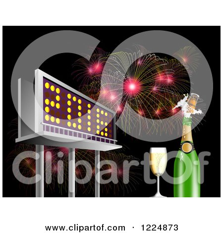 Clipart of a 3d Illuminated 2016 New Year Billboard with Champagne and Bursting Fireworks at Night - Royalty Free Illustration by patrimonio