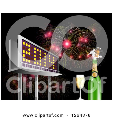 Clipart of a 3d Illuminated 2014 New Year Billboard with Champagne and Bursting Fireworks at Night - Royalty Free Illustration by patrimonio