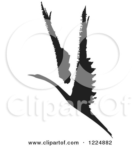 Clipart of a Black and White Ink Flying Swan or Albatross - Royalty Free Vector Illustration by xunantunich