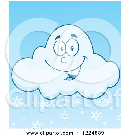 Clipart of a Happy Winter Snow Cloud Mascot - Royalty Free Vector Illustration by Hit Toon