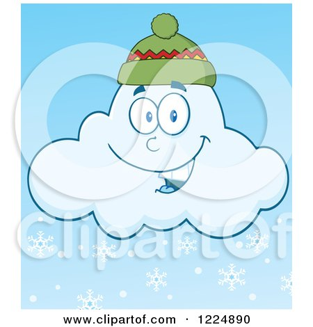Clipart of a Happy Winter Snow Cloud Mascot Wearing a Hat - Royalty Free Vector Illustration by Hit Toon