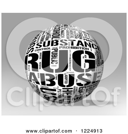 Clipart of a 3d Black and White Drug Word Collage Sphere on Gray - Royalty Free Illustration by MacX