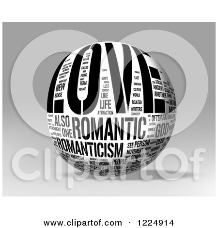 Clipart of a 3d Black and White Love Word Collage Sphere on Gray - Royalty Free Illustration by MacX