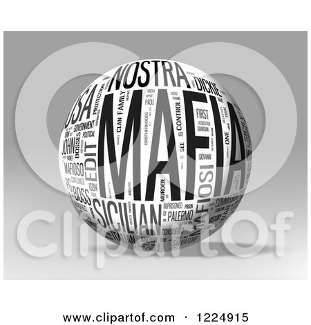 Clipart of a 3d Mafia Word Collage Sphere on Gray - Royalty Free Illustration by MacX