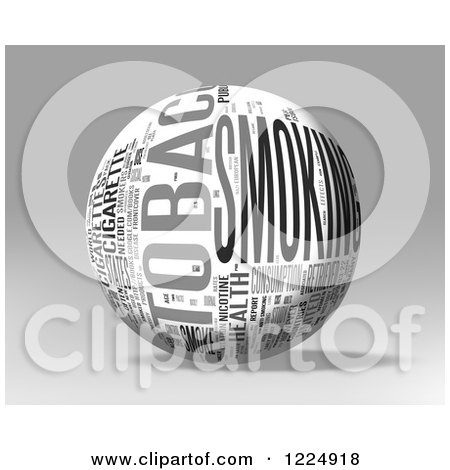 Clipart of a 3d Tobacco Word Collage Sphere on Gray - Royalty Free Illustration by MacX