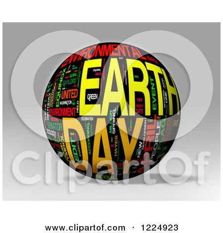 Clipart of a 3d Earth Day Word Collage Sphere on Gray - Royalty Free Illustration by MacX