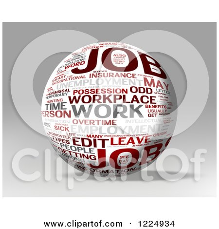 Clipart of a 3d Job Word Collage Sphere on Gray - Royalty Free Illustration by MacX