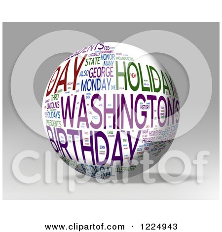 Clipart of a 3d Presidents Day Word Collage Sphere on Gray - Royalty Free Illustration by MacX