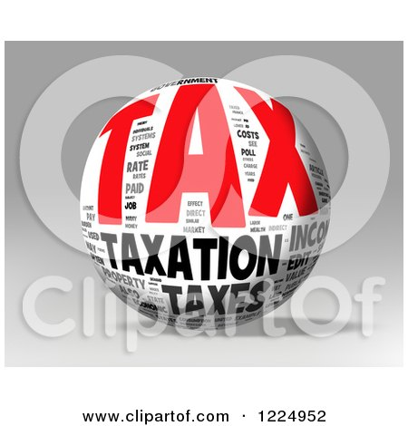 Clipart of a 3d Tax Word Collage Sphere on Gray - Royalty Free Illustration by MacX