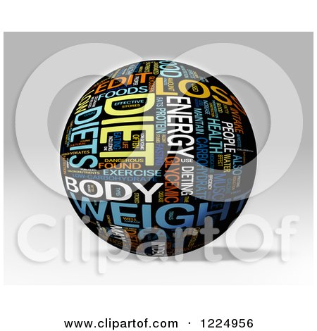 Clipart of a 3d Diet Word Collage Sphere on Gray - Royalty Free Illustration by MacX
