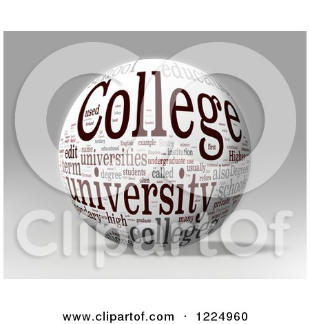 Clipart of a 3d College Word Collage Sphere on Gray - Royalty Free Illustration by MacX