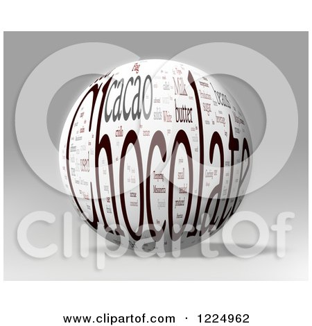 Clipart of a 3d Chocolate Word Collage Sphere on Gray - Royalty Free Illustration by MacX