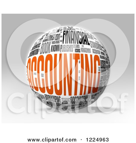 Clipart of a 3d Accounting Word Collage Sphere on Gray - Royalty Free Illustration by MacX