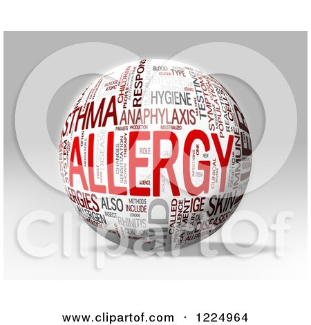 Clipart of a 3d Allergy Word Collage Sphere on Gray - Royalty Free Illustration by MacX