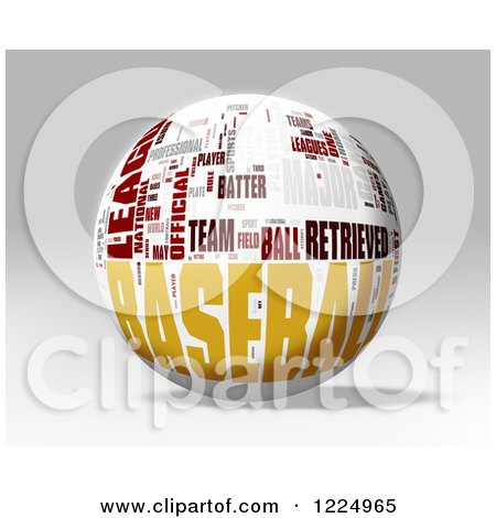 Clipart of a 3d Baseball Word Collage Sphere on Gray - Royalty Free Illustration by MacX