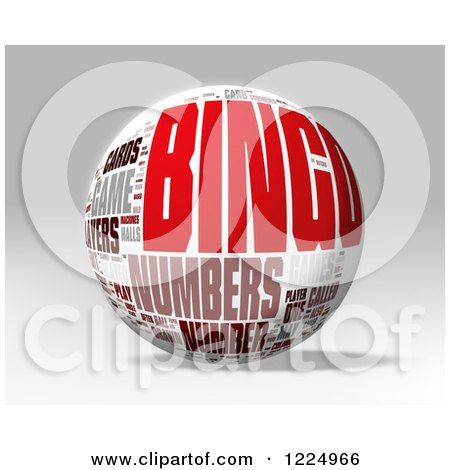Clipart of a 3d Bingo Word Collage Sphere on Gray - Royalty Free Illustration by MacX