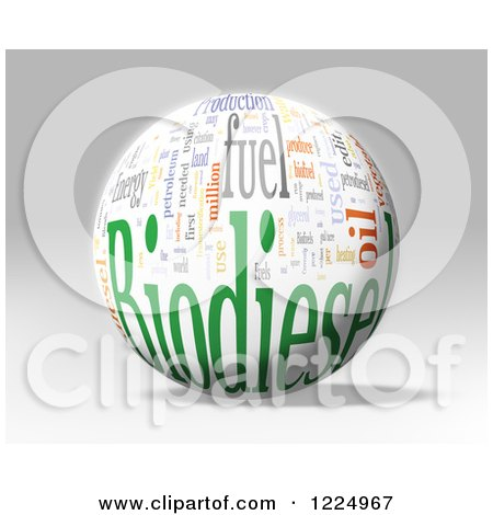 Clipart of a 3d Biodiesel Word Collage Sphere on Gray - Royalty Free Illustration by MacX