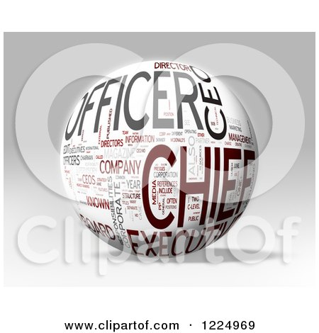 Clipart of a 3d Chief Word Collage Sphere on Gray - Royalty Free Illustration by MacX