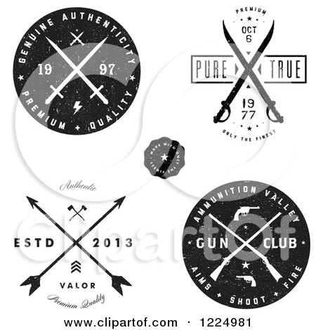 Clipart of Black and White Authentic Arrow Gun and Sword Labels - Royalty Free Vector Illustration by BestVector
