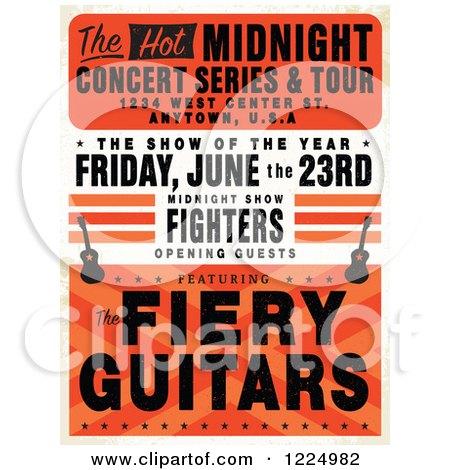 Clipart of a Distressed Guitar Concert Poster with Sample Text - Royalty Free Vector Illustration by BestVector