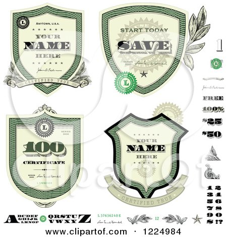 Clipart of a Vintage Money Badges and Design Elements - Royalty Free Vector Illustration by BestVector