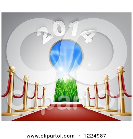 Clipart of a Red Carpet Leading to a 2014 New Year Doorway 3 - Royalty Free Vector Illustration by AtStockIllustration