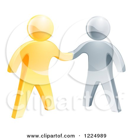 Clipart of 3d Gold and Silver Men Shaking Hands - Royalty Free Vector Illustration by AtStockIllustration