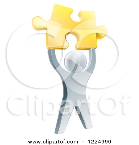 Clipart of a 3d Victorious Silver Man Holding up a Golden Puzzle Piece - Royalty Free Vector Illustration by AtStockIllustration