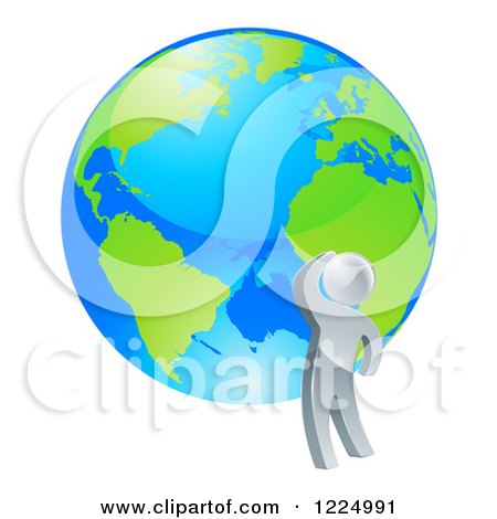 Clipart of a 3d Silver Man Looking up at a Globe - Royalty Free Vector Illustration by AtStockIllustration