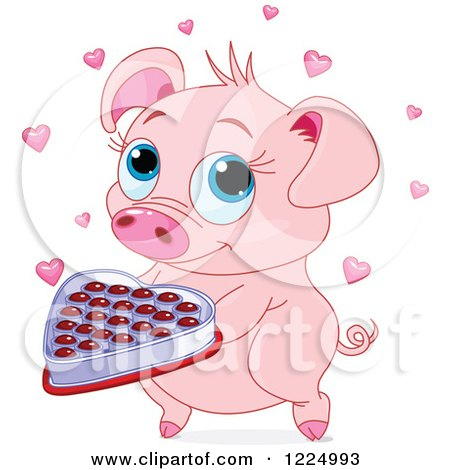 Clipart of a Cute Pig Holding Valentines Day Chocolates - Royalty Free Vector Illustration by Pushkin