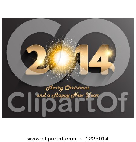 Clipart of a 3d Golden Firework Merry Christmas and a Happy New Year 2014 Greeting over Gray - Royalty Free Vector Illustration by KJ Pargeter