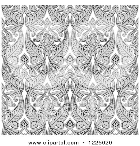 Clipart of an Ornate Gray Seamless Art Nouveau Pattern Background - Royalty Free Vector Illustration by AtStockIllustration