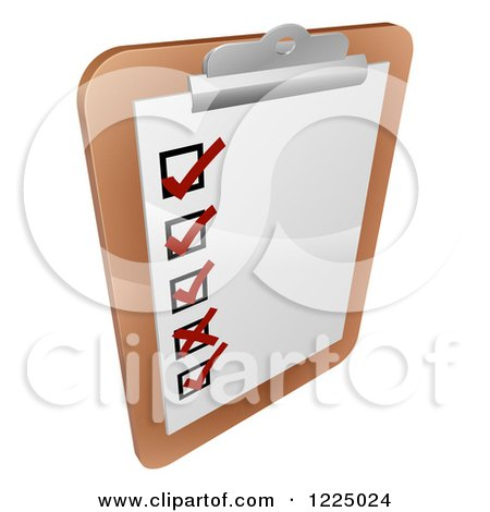 Clipart of a Check List on a Clipboard - Royalty Free Vector Illustration by AtStockIllustration