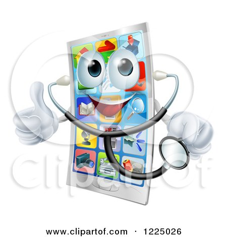 Clipart of a Pleased Smart Phone Holding a Thumb up and a Stethoscope - Royalty Free Vector Illustration by AtStockIllustration
