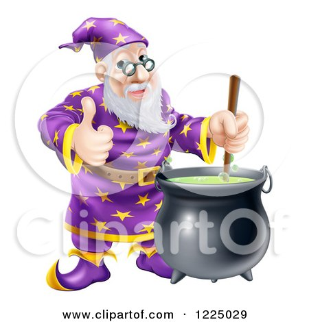 Clipart of a Happy Wizard Holding a Thumb up and Stirring Contents in a Cauldron - Royalty Free Vector Illustration by AtStockIllustration