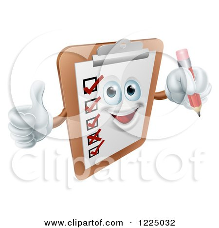 Clipart of a Happy Checklist Clipboard Mascot Holding a Thumb up and a Pencil - Royalty Free Vector Illustration by AtStockIllustration