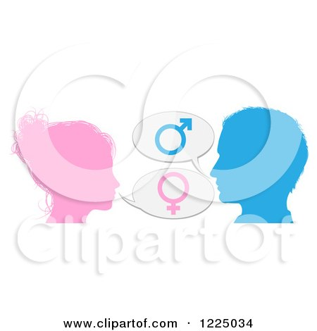 Silhouetted Talking Man and Woman with Gender Balloons Posters, Art Prints