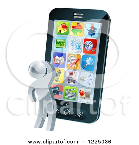 Clipart of a 3d Silver Person Thinking and Looking at App Icons on a Giant Smart Phone - Royalty Free Vector Illustration by AtStockIllustration